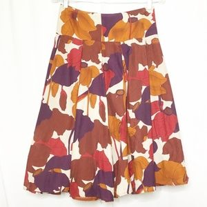 Zara Basic Skirt Silk Coral Purple Pleated Flare S